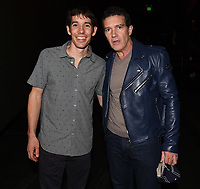 """Los Angeles - JANUARY 8: Antonio Banderas and Alex Honnold attend an IMAX screening of National Geographic's """"Free Solo"""" at the AMC Century City 15 on January 8, 2019 in Los Angeles, California. (Photo by Frank Micelotta/National Geographic/PictureGroup)"""
