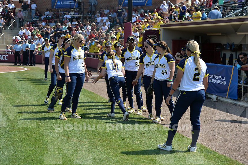 The University of Michigan softball team was defeated by Florida State University in the second game of the Super Regional held on the campus of Florida State University in Tallahassee, FL. May 24, 2014