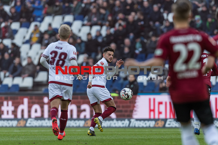 09.02.2019, HDI Arena, Hannover, GER, 1.FBL, Hannover 96 vs 1. FC Nuernberg<br /> <br /> DFL REGULATIONS PROHIBIT ANY USE OF PHOTOGRAPHS AS IMAGE SEQUENCES AND/OR QUASI-VIDEO.<br /> <br /> im Bild / picture shows<br /> Simon Rhein (Nuernberg #38), Tim Leibold (Nuernberg #23), Matthias Ostrzolek (Hannover 96 #22), <br /> <br /> Foto © nordphoto / Ewert