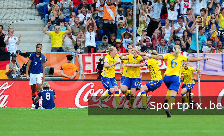 Fifa Women's World Cup Germany 2011 : Zweden - France Frankrijk at Sinsheim World Cup stadium : vreugde bij Zweden na de winnende treffer.foto DAVID CATRY / Vrouwenteam.be