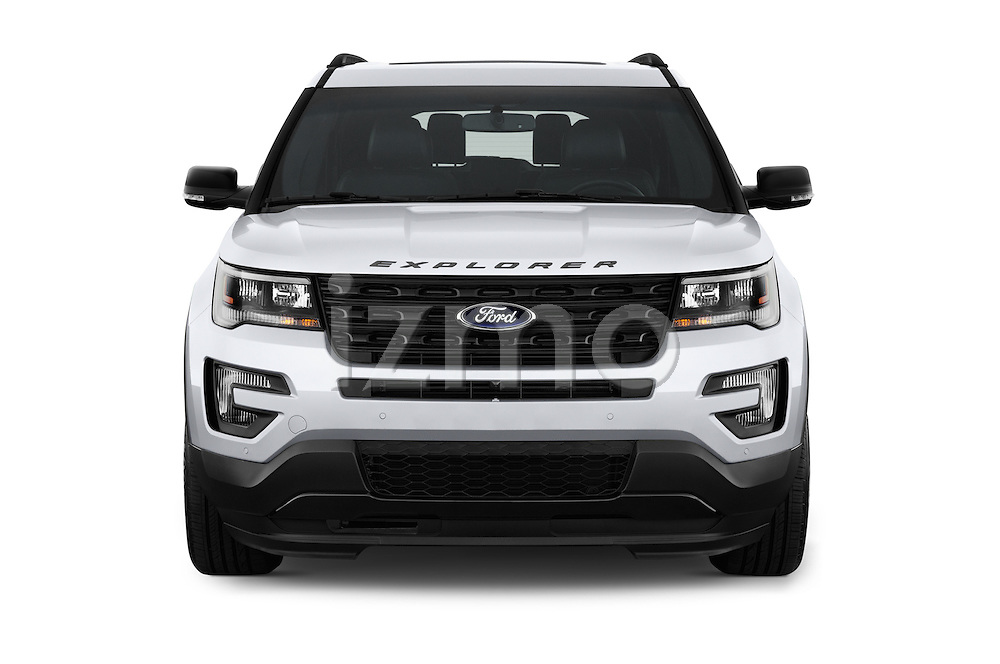 Car photography straight front view of a 2017 Ford Explorer Sport 5 Door Suv Front View