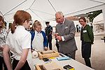 Prince of Wales, Prince Charles visits the Scottish Lime Centre Trust, Charlestown, Fife. Limekilns Primary School children learning to carve masons' marks into tablets of limestone. 08 Sep 2017. Charlestown. Credit: Photo by Tina Norris. Copyright photograph by Tina Norris. Not to be archived and reproduced without prior permission and payment. Contact Tina on 07775 593 830 info@tinanorris.co.uk  <br /> www.tinanorris.co.uk