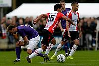 ROLDE - Voetbal, FC Groningen - FC Emmen, voorbereiding seizoen 2019-2020, 16-07-2019,  FC Emmen speler Tim Hiariej in duel met FC Groningen speler Michael Breij