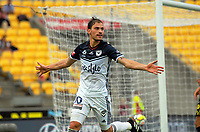 Victory's James Troisi celebrates scoring the matchwinner during the A-League football match between Wellington Phoenix and Melbourne Victory at Westpac Stadium in Wellington, New Zealand on Sunday, 3 December 2017. Photo: Dave Lintott / lintottphoto.co.nz