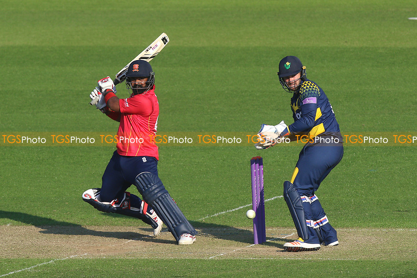 Ashar Zaidi in batting action for Essex as Chris Cooke looks on from behind the stumps during Glamorgan vs Essex Eagles, Royal London One-Day Cup Cricket at the SSE SWALEC Stadium on 7th May 2017