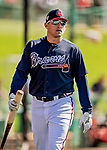 25 February 2019: Atlanta Braves infielder Austin Riley walks toward the dugout prior to a pre-season Spring Training game against the Washington Nationals at Champion Stadium in the ESPN Wide World of Sports Complex in Kissimmee, Florida. The Braves defeated the Nationals 9-4 in Grapefruit League play in what will be their last season at the Disney / ESPN complex. Mandatory Credit: Ed Wolfstein Photo *** RAW (NEF) Image File Available ***