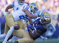 Lavon Coleman gets separated from the ball.  Luckily, Dante Pettis was on hand to pick up the fumble.