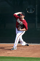 AJ Schugel of the Arizona Diamondbacks participates in the first day of spring training workouts at Salt River Fields on February 7, 2014 in Scottsdale, Arizona (Bill Mitchell)