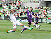 Josh Kennedy   during the  A-League soccer match between Melbourne City FC and Perth Glory at AAMI Park on February 22, 2015 in Melbourne, Australia.