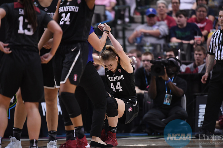 DALLAS, TX - MARCH 31:  Karlie Samuelson #44 of the Stanford Cardinal is helped up during the 2017 Women's Final Four at American Airlines Center on March 31, 2017 in Dallas, Texas. (Photo by Justin Tafoya/NCAA Photos via Getty Images)