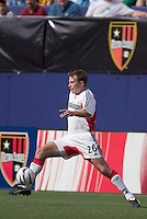 D.C. United's Bryan Namoff stetches for a ball. D. C. United was defeated by the NY/NJ MetroStars 3 to 2 during the MetroStars home opener at Giant's Stadium, East Rutherford, NJ, on April 17, 2004.