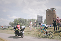 Michael Vanthourenhout (BEL/Marlux-Bingoal) oversteering a corner trying to avoid a jury moto over the gravel roads<br /> <br /> 3rd Dwars Door Het hageland 2018 (BEL)<br /> 1 day race:  Aarschot > Diest: 198km