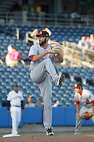 Louisville Bats pitcher Cody Reed (26) on the moundduring a game against the Norfolk Tides at Harbor Park on April 26, 2016 in Norfolk, Virginia. Louisville defeated defeated Norfolk 7-2. (Robert Gurganus/Four Seam Images)