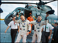 BNPS.co.uk (01202 558833)<br /> Pic: NASA/BNPS<br /> <br /> Aldrin(left) and Jim Lovell after the splashdown of the Gemini 12 mission.<br /> <br /> Out of this world - The worlds first selfie in orbit, taken by astonaut Buzz Aldrin while floating above the earth 51 years ago, has emerged for sale.<br /> <br /> The astronaut posed for the first ever self-portrait in space during the Gemini 12 mission in November 1966.<br /> <br /> Aldrin spent five and a half hours outside the spacecraft in three sorties during which he photographed star fields and also found the time to take this ground-breaking selfie.<br /> <br /> He lifted the visor of his helmet so his forehead and eyes are visible, with the blue curve of the earth providing a stunning background.<br /> <br /> Bloomsbury Auctions - Sept 14th - Est &pound;1200.