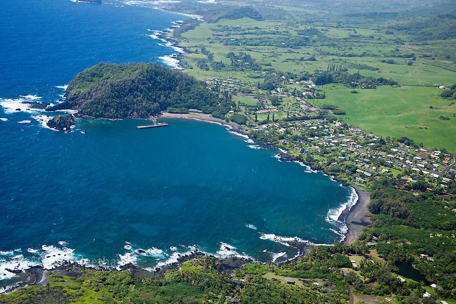 Hana Bay on the northeast coast of Maui and the town of Hana, Maui, Hawaii.