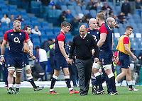 Rugby, Torneo delle Sei Nazioni: Italia vs Inghilterra. Roma, 14 febbraio 2016.<br /> England&rsquo;s coach Eddie Jones walks on the pitch prior to the start of the Six Nations rugby union international match between Italy and England at Rome's Olympic stadium, 14 February 2016.<br /> UPDATE IMAGES PRESS/Riccardo De Luca