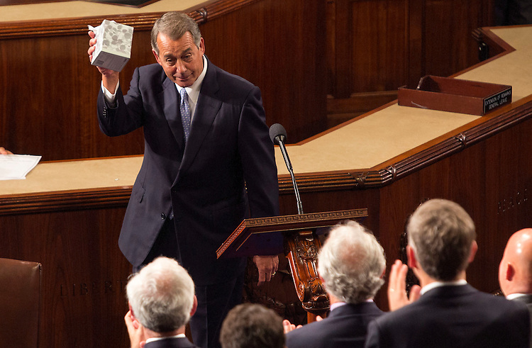 UNITED STATES - OCTOBER 29 - Outgoing House Speaker John Boehner, R-Ohio, holds up a box of tissues while speaking in the House Chamber on Capitol Hill in Washington, Thursday, Oct. 29, 2015, as Rep. Paul Ryan, R-Wis., is expected to be voted in as the new House Speaker. (Photo By Al Drago/CQ Roll Call)