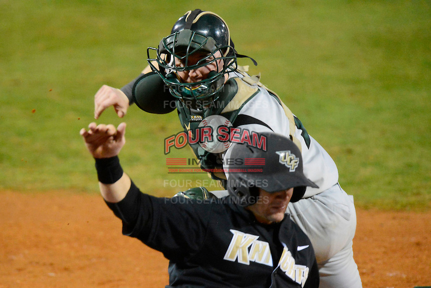 Siena Saints catcher / first baseman Larry Balkwill #19 during a game against the Central Florida Knights at Jay Bergman Field on February 15, 2013 in Orlando, Florida.  UCF defeated Siena 7-1.  (Mike Janes/Four Seam Images)