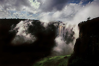 Kaieteur falls is the highest uninterupted waterfall in the world.  After a sheer drop of 741 feet over the edge of a sandstone plateau, the falls have eroded a gorge, 5 miles long that descends another 81 feet.
