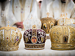 Bishop's crowns. Patriarchal Divine Liturgy service with His Holiness Irinej to venerate and glorify the relics of St. Mardarije of Libertyville, St. Sava Monastery Church<br /> <br /> #NGMWADiocese<br /> #GlorificationStMardarije, #Chicago, #PatriarchIrinej, #MetropolitanAmphiloije<br /> #SerbianOrthodoxChurch<br /> #www.stsavamonastery.org