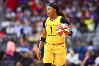 Washington, DC - August 17, 2018: Los Angeles Sparks guard Odyssey Sims (1) handles the ball during game between the Washington Mystics and Los Angeles Sparks at the Capital One Arena in Washington, DC. (Photo by Phil Peters/Media Images International)