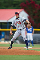 Danville Braves starting pitcher Matt Withrow (12) in action against the Burlington Royals at Burlington Athletic Park on July 12, 2015 in Burlington, North Carolina.  The Royals defeated the Braves 9-3. (Brian Westerholt/Four Seam Images)