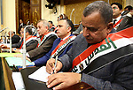 Egyptian parliament members attend the parliament plenary meeting to discuss US President Donald Trump's declaration of Jerusalem as Israel's capital, in Cairo, Egypt, on December 17, 2017. Photo by Amr Sayed