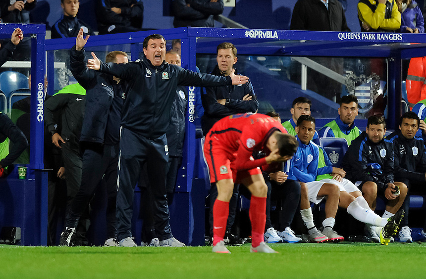 Blackburn Rovers manager Gary Bowyer angered by a challenge on Corry Evans<br /> <br /> Photographer Ashley Western/CameraSport<br /> <br /> Football - The Football League Sky Bet Championship - Queens Park Rangers v Blackburn Rovers - Wednesday 16th September 2015 - Loftus Road - London <br /> <br /> &copy; CameraSport - 43 Linden Ave. Countesthorpe. Leicester. England. LE8 5PG - Tel: +44 (0) 116 277 4147 - admin@camerasport.com - www.camerasport.com