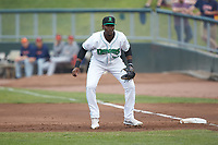 Dayton Dragons first baseman Montrell Marshall (26) on defense against the Bowling Green Hot Rods at Fifth Third Field on June 9, 2018 in Dayton, Ohio. The Hot Rods defeated the Dragons 1-0.  (Brian Westerholt/Four Seam Images)