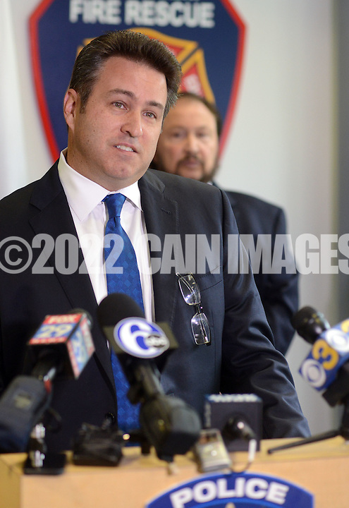 CORRECTS MCMULLIN: Bensalem Detective Chris McMullin answers questions during a news conference announcing the arrest of George Shaw and Robert Sanders in the 1984 murder of Barbara Rowan at Bensalem Police Headquarters Friday October 2, 2015 in Bensalem, Pennsylvania.  (Photo By William Thomas Cain)