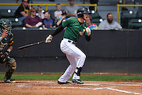 Clinton LumberKings Dalton Kelly (7) swings during the Midwest League game against the Beloit Snappers at Ashford University Field on June 12, 2016 in Clinton, Iowa.  The LumberKings won 1-0.  (Dennis Hubbard/Four Seam Images)