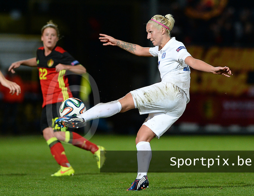 20160412 - LEUVEN ,  BELGIUM : Estonian Eneli Vals pictured during the female soccer game between the Belgian Red Flames and Estonia , the fifth game in the qualification for the European Championship in The Netherlands 2017  , Tuesday 12 th April 2016 at Stadion Den Dreef  in Leuven , Belgium. PHOTO SPORTPIX.BE / DAVID CATRY