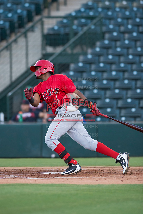 AZL Angels second baseman Jose Verrier (4) follows through on his swing during an Arizona League game against the AZL Indians 2 at Tempe Diablo Stadium on June 30, 2018 in Tempe, Arizona. The AZL Indians 2 defeated the AZL Angels by a score of 13-8. (Zachary Lucy/Four Seam Images)