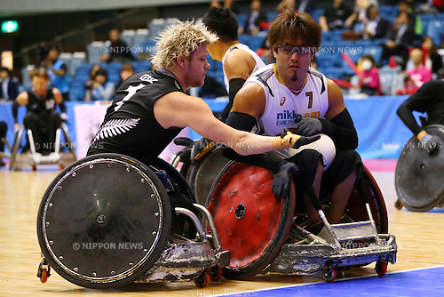Daisuke Ikezaki (JPN), October 29, 2015 - Wheelchair Rugby : IWRF 2015 Asia-Oceania Championship Preliminary League match between Japan - New Zealand at Chiba Port Arena in Chiba, Japan. (Photo by Shingo Ito/AFLO SPORT)