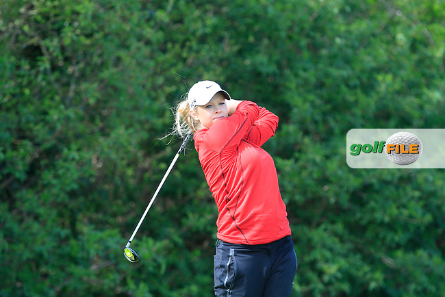 Samantha Fuller (ENG) on the 1st play-off hole during The Irish Girls Open Strokeplay Championship in Roganstown Golf Club on Sunday 19th April 2015.<br /> Picture:  Thos Caffrey / www.golffile.ie