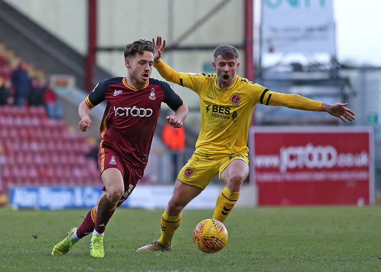 Bradford City's Jack Payne gets away from Fleetwood Town's Jack Sowerby<br /> <br /> Photographer David Shipman/CameraSport<br /> <br /> The EFL Sky Bet League One - Bradford City v Fleetwood Town - Saturday 9th February 2019 - Valley Parade - Bradford<br /> <br /> World Copyright &copy; 2019 CameraSport. All rights reserved. 43 Linden Ave. Countesthorpe. Leicester. England. LE8 5PG - Tel: +44 (0) 116 277 4147 - admin@camerasport.com - www.camerasport.com