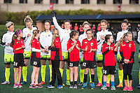 Allston, MA - Sunday, April 24, 2016: Seattle Reign FC defender Kendall Fletcher (13) waves to the crowd during opening ceremonies. The Boston Breakers play Seattle Reign during a regular season NSWL match at Harvard University.