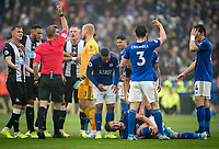 Dennis Praet of Leicester City holds his leg as Isaac Hayden of Newcastle United (not pictured) is sent off during the Premier League match between Leicester City and Newcastle United at the King Power Stadium, Leicester, England on 29 September 2019. Photo by Andy Rowland.
