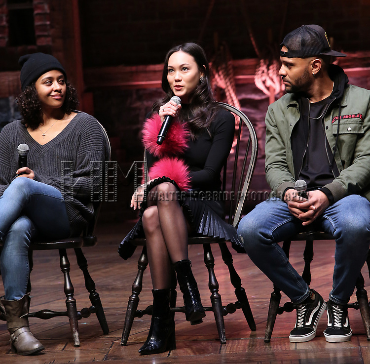 """Sasha Hollinger, Sabrina Imamura and Terrance Spencer  during The Rockefeller Foundation and The Gilder Lehrman Institute of American History sponsored High School student #eduHam matinee performance of """"Hamilton"""" Q & A at the Richard Rodgers Theatre on December 5,, 2018 in New York City."""