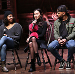 "Sasha Hollinger, Sabrina Imamura and Terrance Spencer  during The Rockefeller Foundation and The Gilder Lehrman Institute of American History sponsored High School student #eduHam matinee performance of ""Hamilton"" Q & A at the Richard Rodgers Theatre on December 5,, 2018 in New York City."