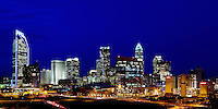Charlotte NC skyline poster or panoramic print. Best printed in the proportions of 12x36 (additional sizes and images available).