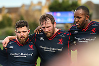 London Scottish players after the Greene King IPA Championship match between London Scottish Football Club and Hartpury RFC at Richmond Athletic Ground, Richmond, United Kingdom on 28 October 2017. Photo by David Horn.