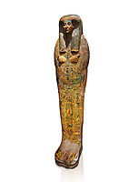 Ancient Egyptian sarcophagus, Thebes, Late 21st Dynasty, Egyptian Museum, Turin.  white background