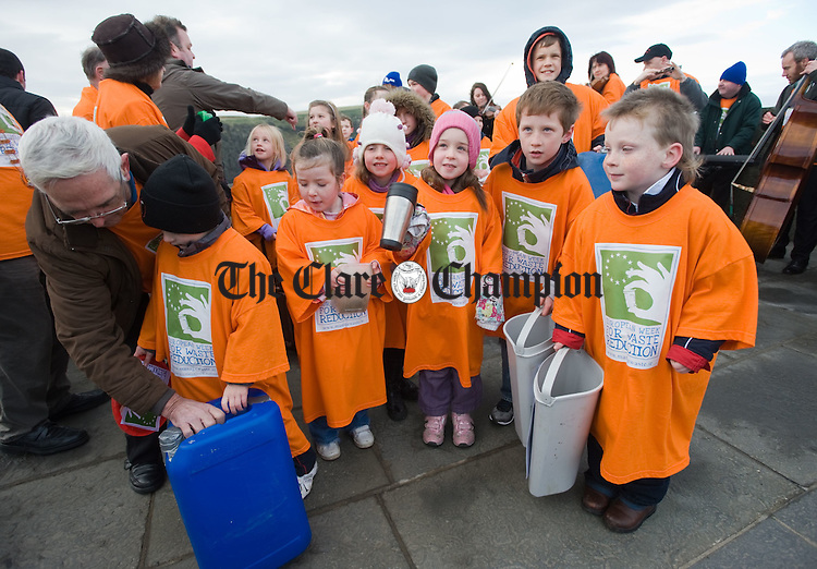 BatucaMob volunteers drum to the sounds of The Kilfenora Ceili Band  at the Cliffs of Moher during the launch of European Week for Waste Reduction (EWRR) 2010. Photograph by John Kelly.