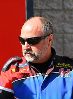 Mar 30, 2014; Las Vegas, NV, USA; NHRA top fuel driver Mike Strasburg during the Summitracing.com Nationals at The Strip at Las Vegas Motor Speedway. Mandatory Credit: Mark J. Rebilas-