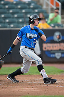 Brendan McKay (38) of the Hudson Valley Renegades follows through on his swing against the Aberdeen IronBirds at Leidos Field at Ripken Stadium on July 27, 2017 in Aberdeen, Maryland.  The Renegades defeated the IronBirds 2-0 in game one of a double-header.  (Brian Westerholt/Four Seam Images)