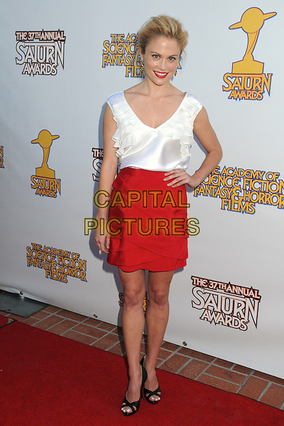 Claire Coffee.37th Annual Saturn Awards held at The Castaway, Burbank, California, USA, .23 June 2011..full length red skirt white top sleeveless hand on hip .CAP/ADM/BP.©Byron Purvis/AdMedia/Capital Pictures.