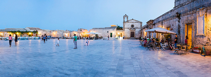 Marzamemi at night, Panoramic photo of The Church of St Francis of Paolo in the main square at Marzamemi, South East Sicily, Italy, Europe. This is a panoramic photo of The Church of St Francis of Paolo in the main square at Marzamemi at night, South East Sicily, Italy, Europe.