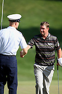 June 28, 2014 (Bethesda, Maryland).    Marc Leishman shakes a service member hand after completing hole 17 during Round 3 of the Quicken Loan National at the Congressional Country Club in Bethesda, MD. (Photo by Elliott Brown/Media Images International)