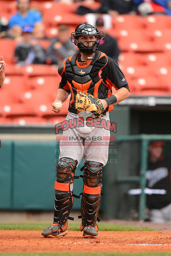 Norfolk Tides catcher Luis Exposito #23 during a game against the Buffalo Bisons on May 9, 2013 at Coca-Cola Field in Buffalo, New York.  Norfolk defeated Buffalo 7-1.  (Mike Janes/Four Seam Images)